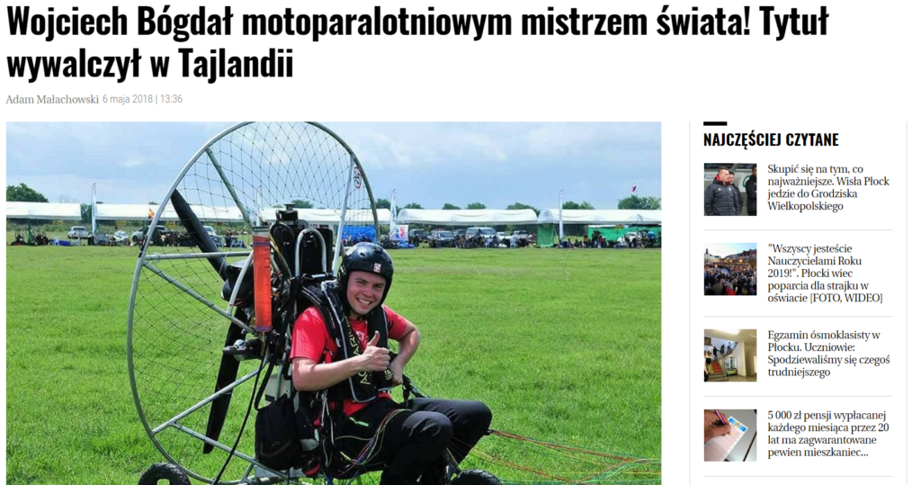 Wojciech Bógdał motoparalotniowym mistrzem świata! Tytuł wywalczył w Tajlandii